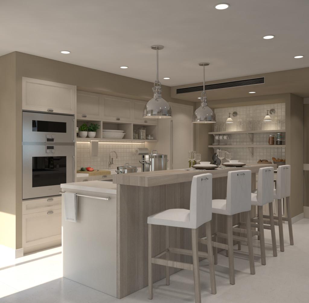 Render de la mateixa perspectiva del projecte Deulonder. Amb aquesta imatge en 3D el client pot triar millor els colors dels materials que prefereix per a la seva cuina.